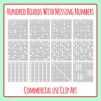 Hundred Boards with Missing Numbers Clip Art Set for Commercial Use