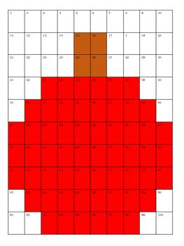 Hundreds Chart Color By Number-September/October