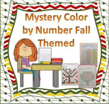 Hundred Chart Color by Code Mystery Picture Fall Themed