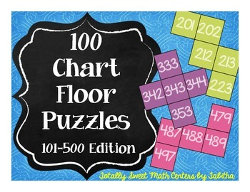 Hundred Chart Floor Puzzles: 101-500 Edition-- four 20-piece puzzles!