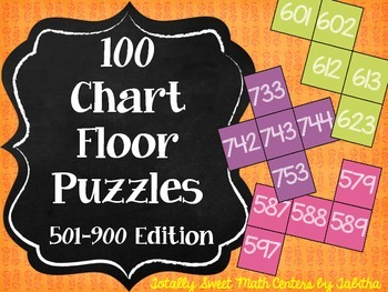 Hundred Chart Floor Puzzles: 501-900 Edition-- four 20-pie
