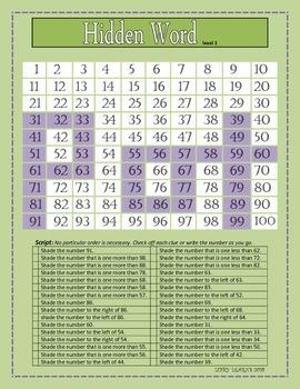 Hundred Chart Hidden Word Activity- level one
