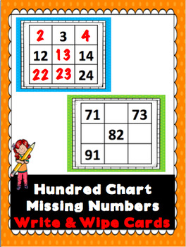 Hundred Chart Missing Numbers Write & Wipe Cards