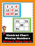 Hundred Chart Squares Missing Numbers Write & Wipe Cards