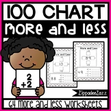 Worksheets for 100 Hundred Chart More and Less Printables