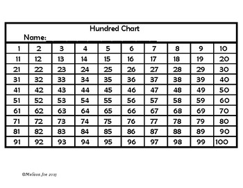 Hundred Chart Patterns and Puzzles Part 1   1-100