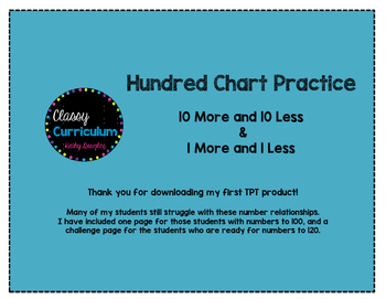 Hundred Chart Practice for 10 More and 10 Less & 1 More and 1 Less