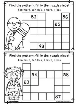 Hundred Chart Puzzles - 1 more/1 less, 10 more/10 less