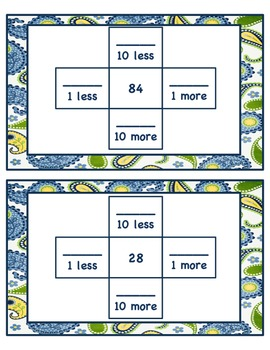 Hundred Chart Puzzles 10 More, 10 less, 1 more, 1 less