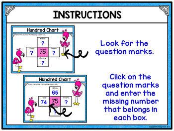Hundred Chart Puzzles Digital Activity for Google Classroom - Flamingo Fun