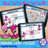Hundred Chart Puzzles Digital Activity for Google Classroom - Flamingo Fun