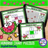 Hundred Chart Puzzles Digital Activity for Google Classroom - Watermelon Fun