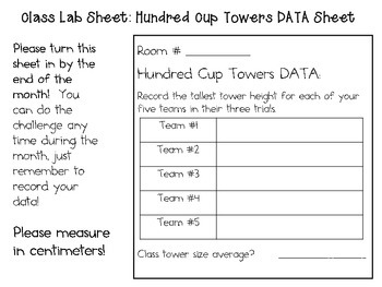 Hundred Cup Towers ~ Monthly School-wide Science Challenge ~ STEM