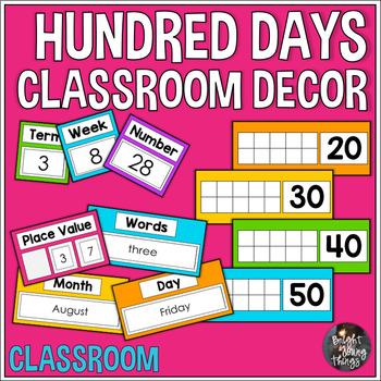 Hundred Days Classroom Decor - Countdown - Brights Theme