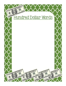Hundred Dollar Words Poster Word Choice Writing Million