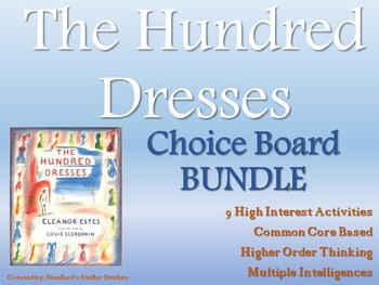 The Hundred Dresses Choice Board BUNDLE 9 Activity Pages Rubric Book Project