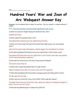 Hundred Years' War and Joan of Arc Webquest