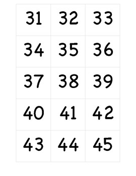 Hundreds Chart Numbers