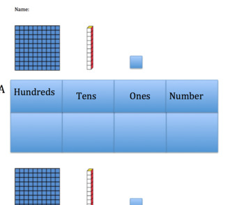 Hundred, tens, and ones worksheet