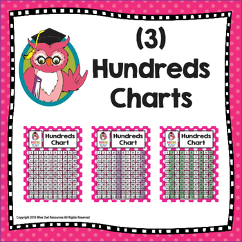 Hundreds/120 Chart - 3 Styles - Pink with Whitte Polka Dots