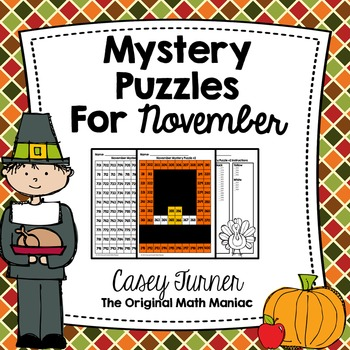 Hundreds Board Color By Number Mystery Puzzles for November