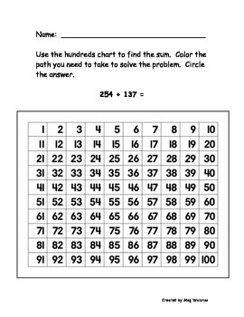 Hundreds Chart 3-Digit Addition - Common Core Alligned