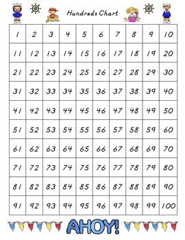 Hundreds Chart - Beach Theme