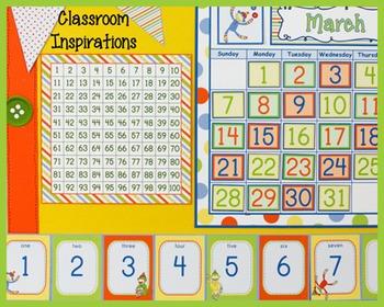 Hundreds Chart – Coordinates with Sock Monkey Classroom Theme