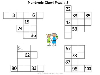 Hundreds Chart Fill-Ins and Puzzles
