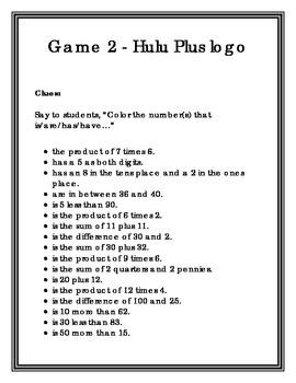 Hundreds Chart Game - 24 games