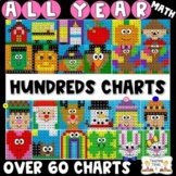 Hundreds Chart Hidden Pictures   ALL YEAR BUNDLE