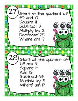 Mental Math Number Sense and Operations Task Cards- FROGS