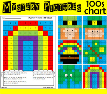 Hundreds Chart Math Mystery Picture - March Spring and St. Patrick's Day