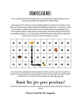 Hundreds Chart Maze: Adding on 100s Chart