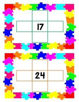 Hundreds Chart Missing Number Cards 1-100