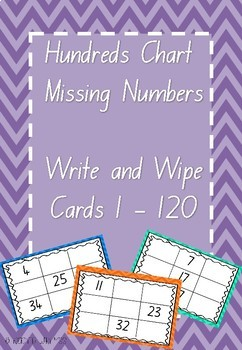 Hundreds Chart Missing Numbers 1-120