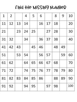 Hundreds Chart (Missing Numbers and Task Cards)