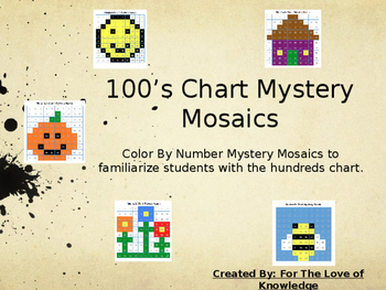 Hundreds Chart Mystery Mosaic- Colour By Number