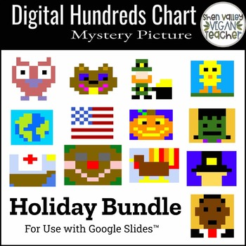 Digital Hundreds Chart Mystery Picture - Pixel Art - Bundle