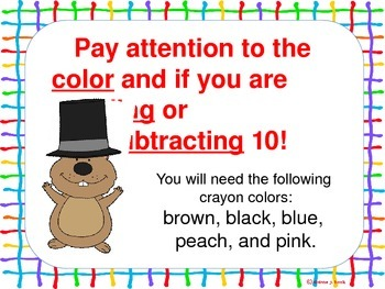 Hundreds Chart Mystery Picture (Groundhog)