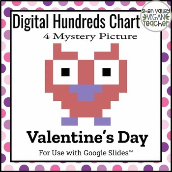 Digital Hundreds Chart Mystery Picture - Pixel Art - Heart Owl