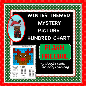 Hundreds Chart Mystery Picture Reindeer  Flash Freebie!