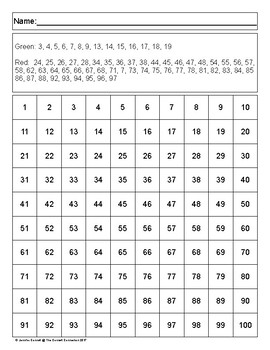 Hundreds Chart Mystery Picture Stocking
