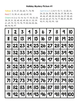 Hundreds Chart Mystery Pictures Holiday Themed