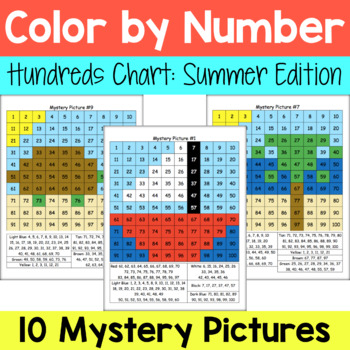 Hundreds Chart Mystery Pictures: Summer Packet