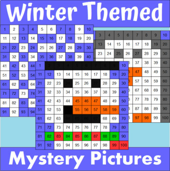 Hundreds Chart Mystery Pictures Winter Themed Bundle