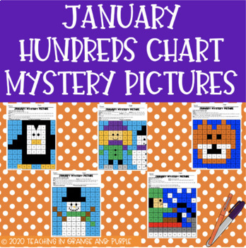 Hundreds Chart Mystery Pictures for January