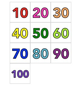 Hundreds Chart Number Cards