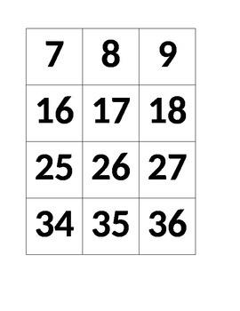 Hundreds Chart Number Cards for Pocket Chart