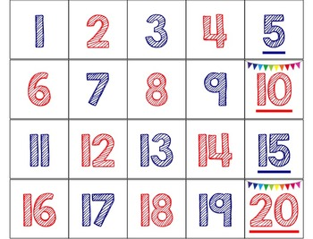 Hundreds Chart Numbers for Pocket Charts